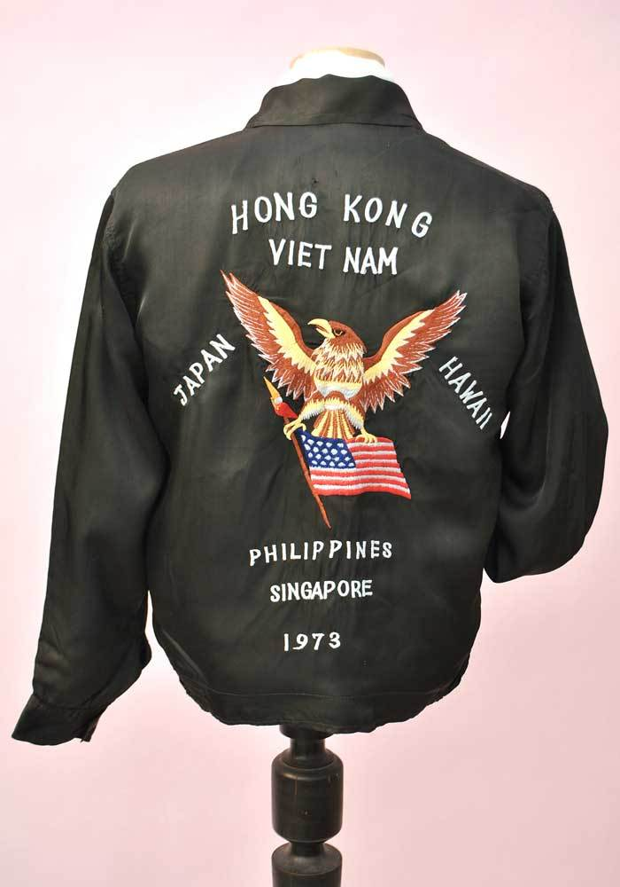 A piece of vintage clothing history • Vietnam War Souvenir Tour Jacket USS Wabash