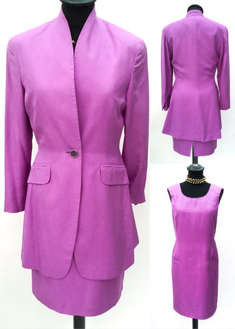 1990s Vintage Lilac Silk Shift Dress with Jacket • Mother of the Bride • MaxMara