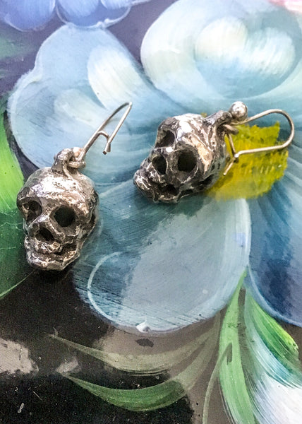 1980s Vintage Silver-Metal Dangle Punk Rock Skull Earrings