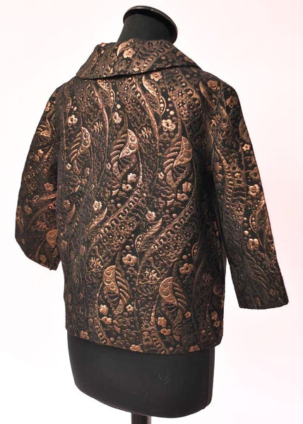 1960s Vintage Bronze Copper and Black Textured Brocade Top