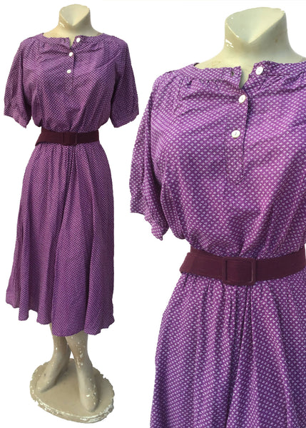 Vintage 70s Laura Ashley Welsh Label Purple Cotton Dress