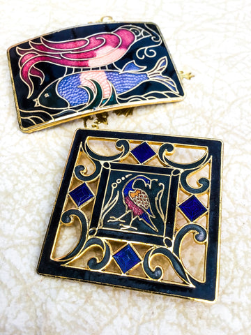 Enamel cloissone fish and bird brooch with a square phoenix enamel brooch, both are large and in excellent condition