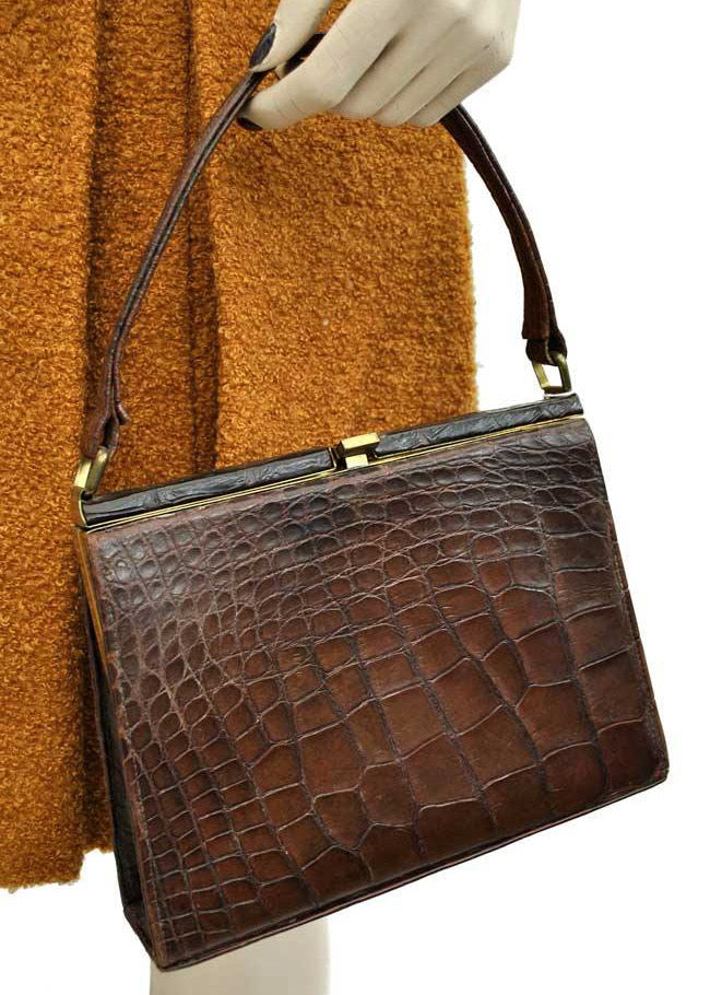 1950s Vintage Alligator Crocodile Handbag • Top Handle Bag