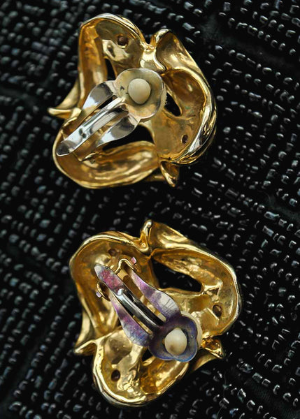 1980s Chunky Statement Vintage Clip On Earrings with Coloured Stones
