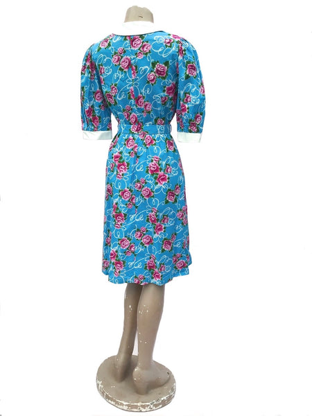 1980s Vintage Turquoise & Pink Carnation Cotton Print Summer Dress with Belt