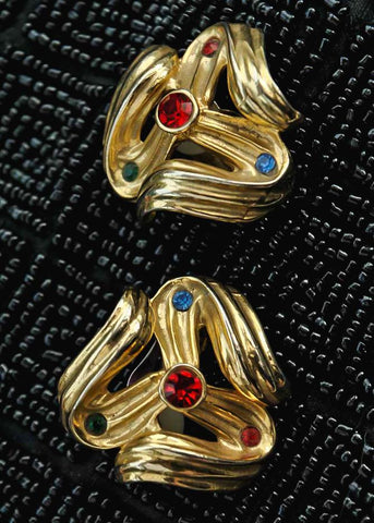 Goldtone swirly chunky statement earrings, very 1980s with coloured rhinestones
