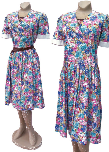 Handmade floral cotton drop waist dress from the 1980s, hand made and easy to wear.