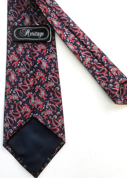 Men's Paisley Silk Tie Burgundy Navy Blue Necktie