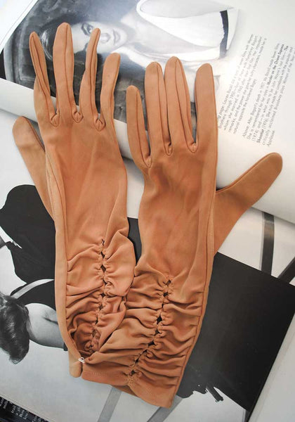 vintage 40s orange beige long gloves size 7.5