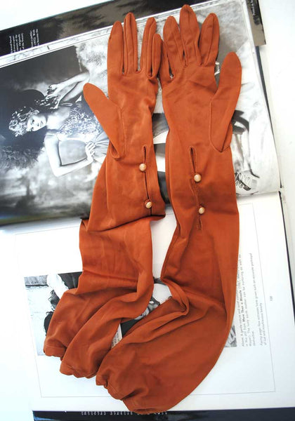"1940s Vintage Sheer Nylon Cinnamon Opera Gloves • Elbow Length • 3.5"" Finger"