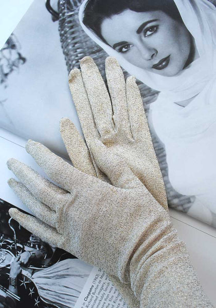 1960s Vintage Gold Lurex Evening Opera Gloves • 6.5