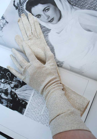 vintage 60s gold lurex evening gloves like new, size 6.5 on label.