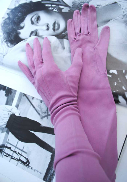 vintage 50s lilac satin evening gloves size 6.5
