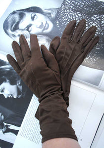 vintage 50s chocolate brown nylon gloves, small size