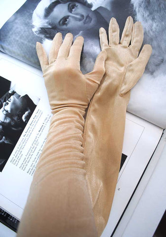 glamorous vintage goldust evening gloves, sparkly sheer nylon