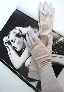 vintage silver grey opera gloves, long cocktail gloves.