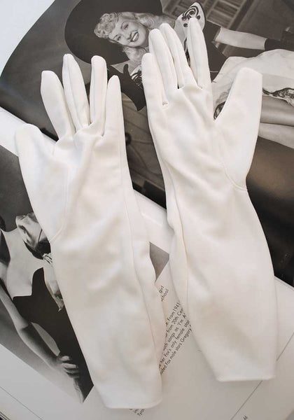 1960s Vintage White Day Gloves • Church • Wedding Gloves • 7.5