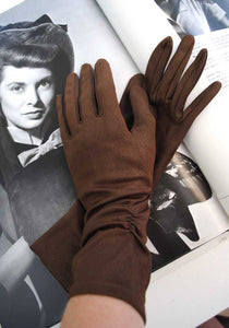50s brown bracelet gloves with ruched sides size 6.5