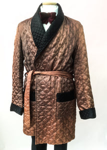 1960s Vintage Bronze Quilted Tootal Smoking Jacket Robe