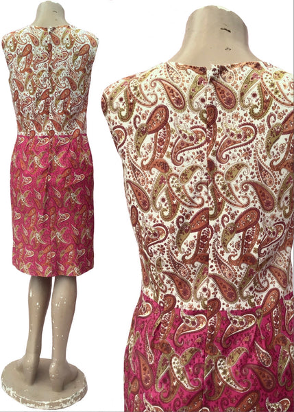 1960s Pink Paisley Nylon Mini Shift Dress • Mod