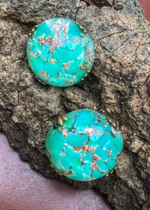 Buy vintage green czech glass dome earrings from the art deco period