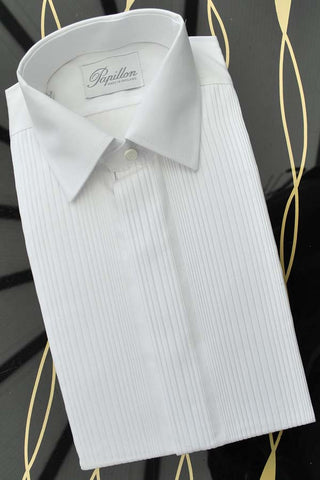 "Men's Vintage 60s White Pin Tucked Tuxedo Shirt • Deadstock • 15"" Collar"