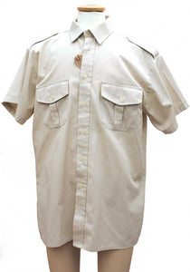 military style short sleeve uniform shirt with epaulettes