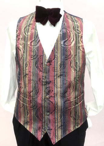 Men's vintage folkespear damask waistcoat, striped pink, blue and gold paisley.