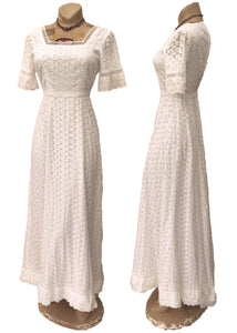 vintage 70s white cotton broderie anglaise, eyelet wedding dress with short sleeves, approx size 8 to 10.