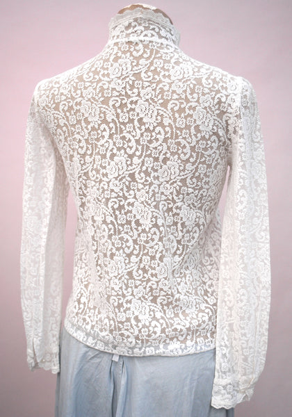 Vintage White Lace Edwardian Inspired Blouse • Prairie Blouse