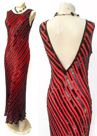 1970s Vintage Red and Black Striped Sequin Evening Dress • After Six