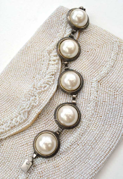 1950s Vintage Large Faux Pearl Linked Bracelet