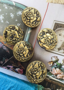 Antique art nouveau brass buttons of chrysanthemums by solidaire paris france
