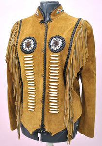 vintage indian beaded fringed suede jacket