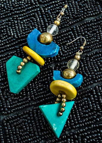 1960s Vintage Abstract Modernist Colourful Plastic Earrings