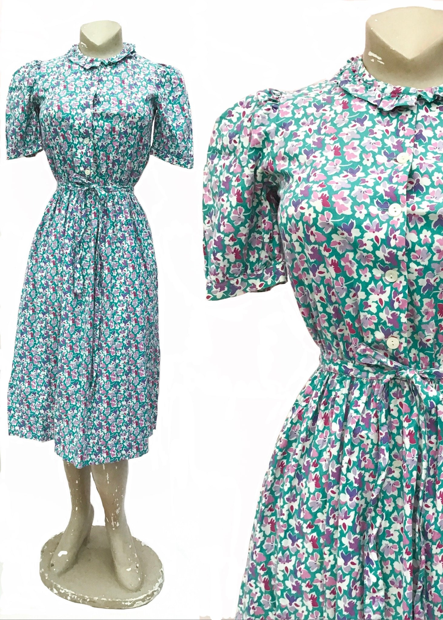 1970s 40s Style Vintage Lilac Turquoise Floral Cotton Summer Dress