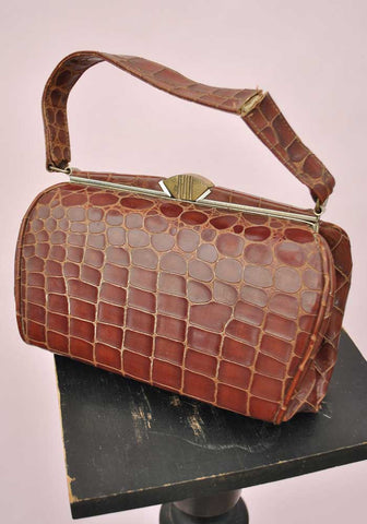 Vintage 30s Deco Crocodile Handbag • Small Barrel Shape • Brass Clasp