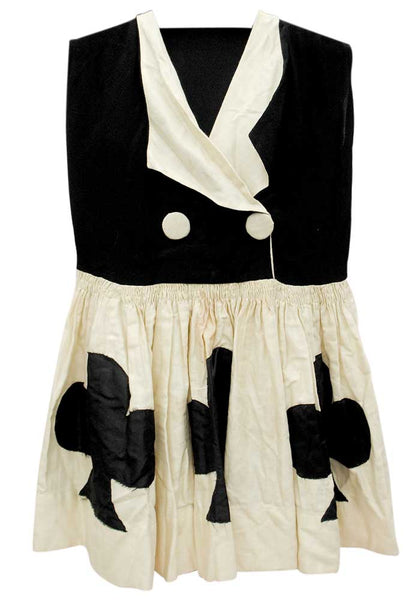 girls vintage 1920s flapper dress costume, clubs playing cards suit