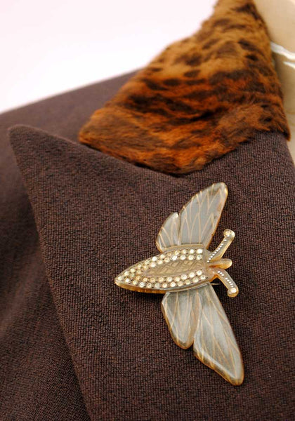 stunning 1900s Art Nouveau horn brooch of a moth