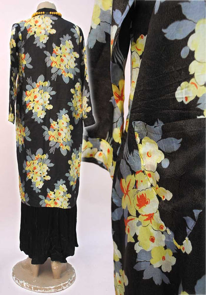vintage deco bohemian silk japanese pongee robe in black and yellow