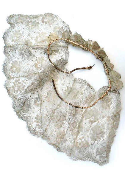 Antique 20s Flapper Silver Leaf Headband Crown with Lame Lace Veil  • Deco Millinery • Bridal