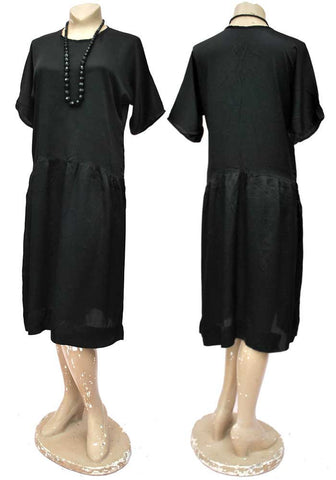 genuine 20s black silk flapper dress