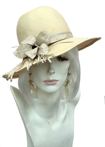 Designer phillip somerville summer hat with beige vinyl flower and fringe decoration, 1960s, 70s vintage summer hat