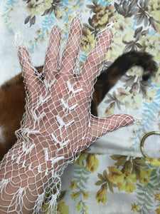 Antique Edwardian white net lacework gloves