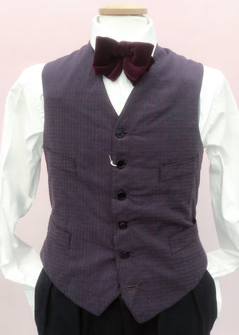 Genuine 1930s vintage waistcoat, peaky blinders style with four pockets for pocket watch and chain, in purple blue check cotton.