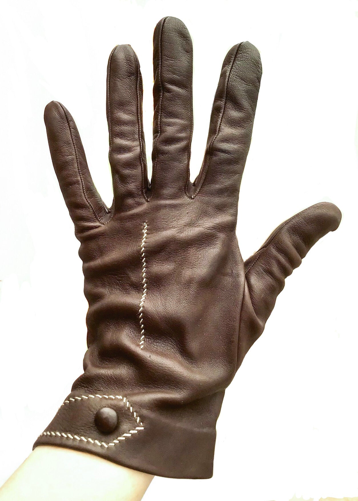 Vintage Brown Leather Gloves with Contrast Stitch Detail