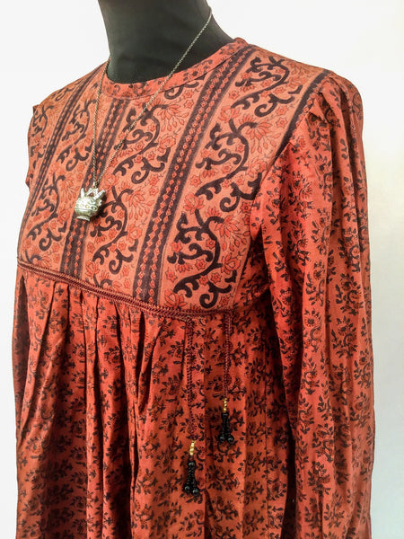 1970s Vintage Block Printed Ayesha Davar Dress