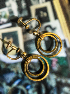 Vintage 40s rolled gold, dual hoop screw back earrings, marked as Paris, Foreign