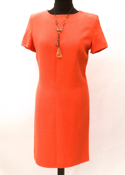1990s Orange Short Sleeve Wiggle Shift Dress by George Rech for Synonyme