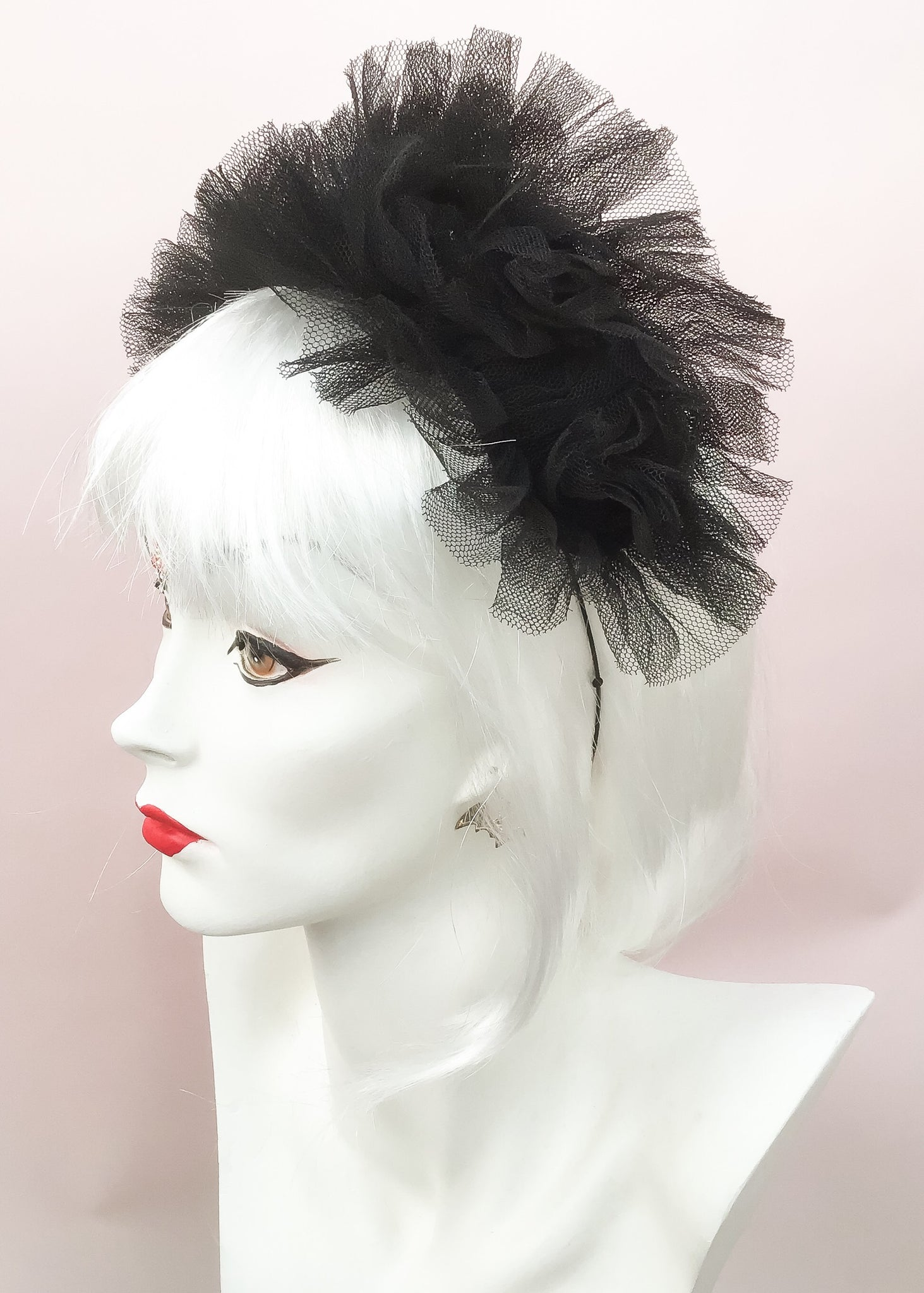 1960s Vintage Black Net Headband Fascinator Hat